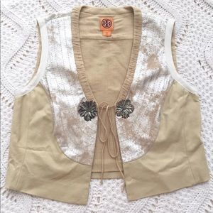 Tory Burch Cotton Leather Metallic Vest BOHO Chic